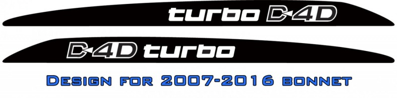 """D4D turbo"" LandCruiser bonnet scoop stickers"