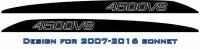 """4500V8"" LandCruiser bonnet scoop stickers"
