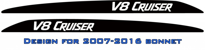 """V8 CRUISER"" Landcruiser bonnet scoop stickers"