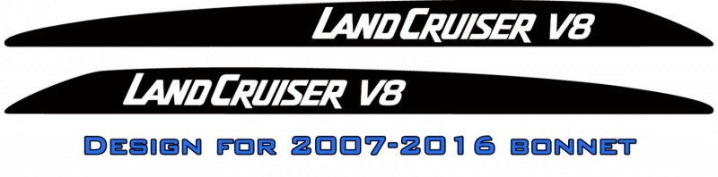 """LANDCRUISER V8"" Bonnet scoop stickers"