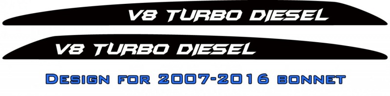 """V8 TURBO DIESEL"" Batman font bonnet scoop stickers"
