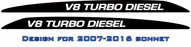 """V8 TURBO DIESEL"" Landcruiser bonnet scoop stickers"