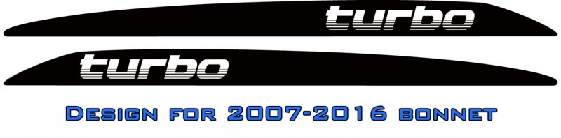 """turbo"" italic Landcruiser bonnet scoop stickers"