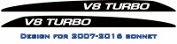 """V8 TURBO"" Landcruiser bonnet scoop stickers"