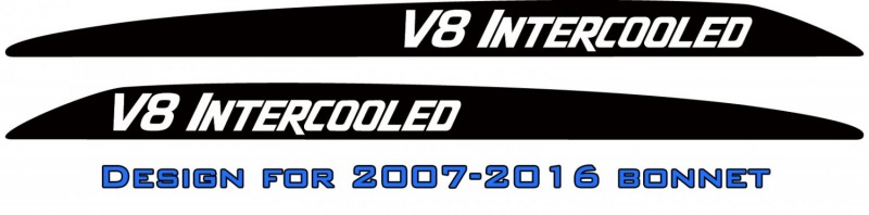 """V8 INTERCOOLED"" LandCruiser bonnet scoop stickers"