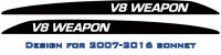 """V8 WEAPON"" Landcruiser bonnet scoop stickers"